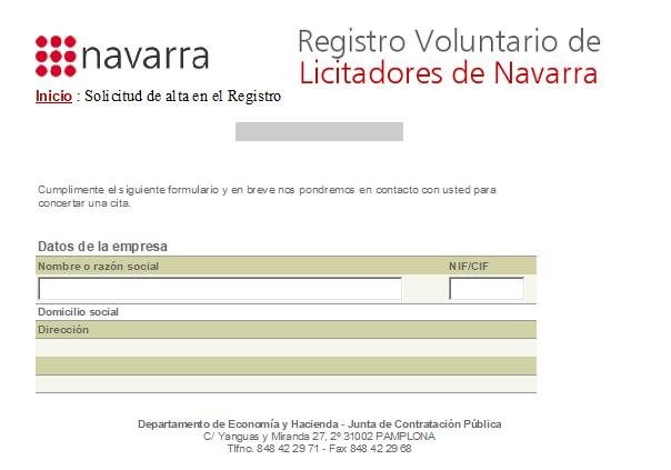 Registro Voluntario de Licitadores de Navarra. Inscripción y renovación.