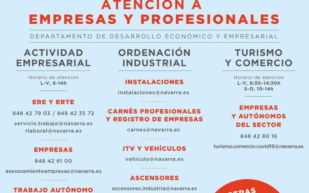 Gobierno de Navarra habilita un canal para la atención a empresas y profesionales autónomos por COVID 19